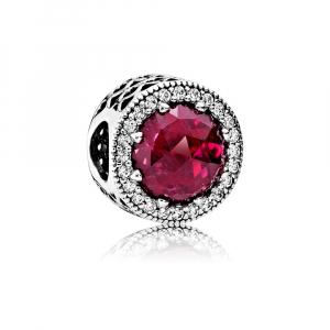 Abstract silver charm with cerise crystal and clear cubic zirconia