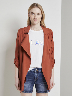 structured blazer trench, fox orange, M