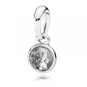 April birthstone silver pendant with rock crystal