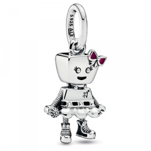 Punk robot girl sterling silver dangle with black and pink enamel