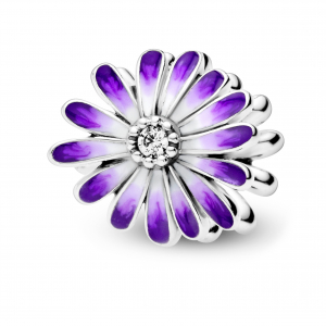 Daisy sterling silver charm with clear cubic zirconia and shaded purple enamel