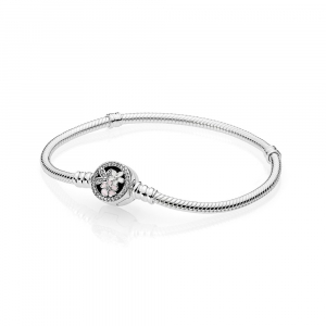 Silver bracelet with clear cubic zirconia, white and pink enamel on floral clasp