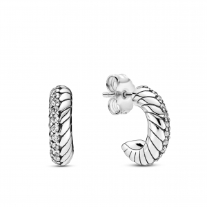 Snake chain pattern sterling silver hoop earrings with clear cubic zirconia