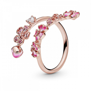 Open flower Pandora Rose ring with cerise, rose pink crystal, clear and pink cubic zirconia, pink synthetic sapphire and enamel