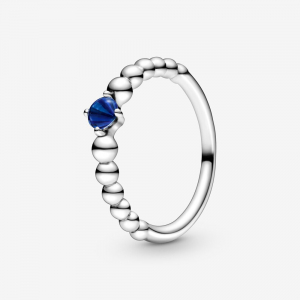 Sterling silver ring with royal blue crystal
