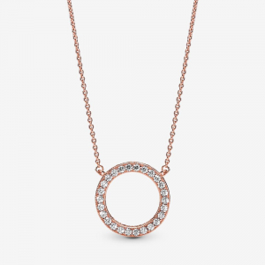 PANDORA logo reversible collier in 14k rose gold-plated with clear cubic zirconia