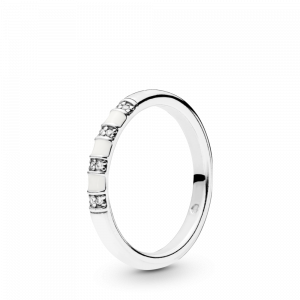Silver ring with clear cubic zirconia and white enamel