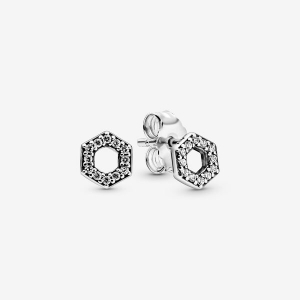Hexagon sterling silver stud earrings with clear cubic zirconia