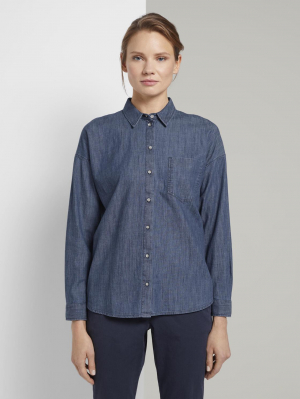 blouse denim, dark stone wash denim, 44