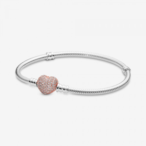 Snake chain silver bracelet with PANDORA Rose heart clasp and clear CZ