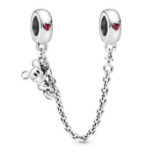Disney Mickey silver safety chain with red cubic zirconia