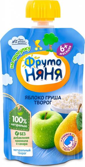 Пюре Фрутоняня яблочно-грушевое с творогом 90 гр