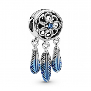 Dreamcather sterling silver charm with fancy blue cubic zirconia and transparent blue enamel