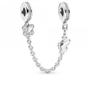 Butterfly silver safety chain with clear cubic zirconia