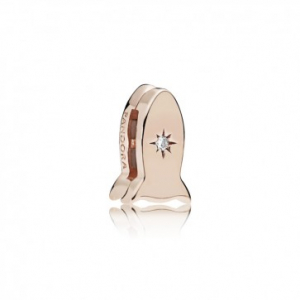 PANDORA Reflexions space ship clip charm in PANDORA Rose with clear cubic zirconia