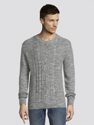 cosy cable sweater, grey space dye, S