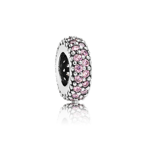 Abstract silver spacer with pink cubic zirconia