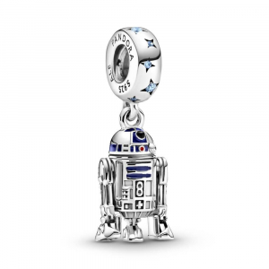 Star Wars R2D2 sterling silver dangle with fancy light blue cubic zirconia, blue, red and black enamel