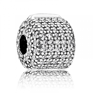 Pave silver clip with clear cubic zirconia
