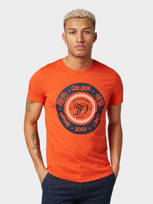 T-shirt with, Bright Tangerine Orange, M