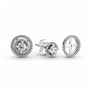 Sterling silver stud earrings with detachable earring jackets and clear cubic zirconia