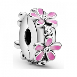 Daisy sterling silver clip with clear cubic zirconia, shaded pink enamel and silicone grip