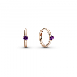 Pandora Rose hoop earrings with royal purple crystal
