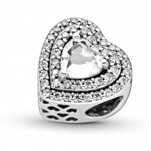 Heart sterling silver charm with clear cubic zirconia