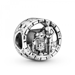 Star Wars logo, R2D2 and C3PO sterling silver charm