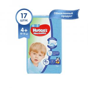 Подгузники для мальчиков Huggies Ultra Comfort 4+ 10-16 кг 17 шт
