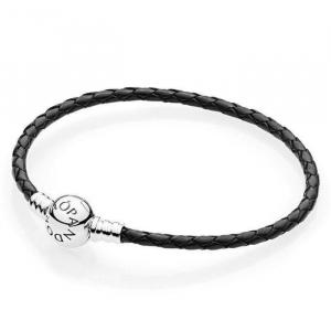 Silver leather bracelet, single, black