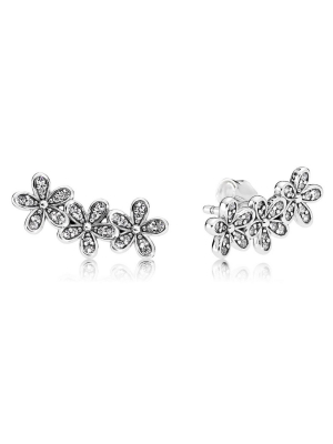 Daisy silver stud earrings with clear cubic zirconia