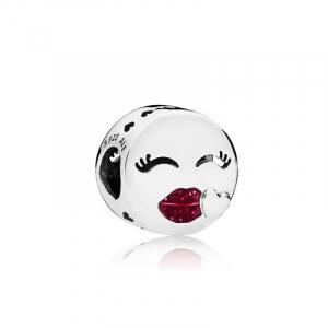 Kiss emoticon silver charm with cerise glitter enamel