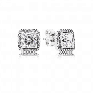 Square silver stud earrings with clear cubic zirconia