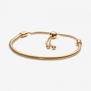 Snake chain PANDORA Shine bracelet with clear cubic zirconia