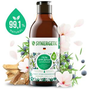 SYNERGETIC натуральный гель для душа Сандал и ягоды можжевельника, 0,38л.