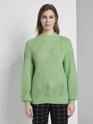 ajour pullover, soft basil green, L