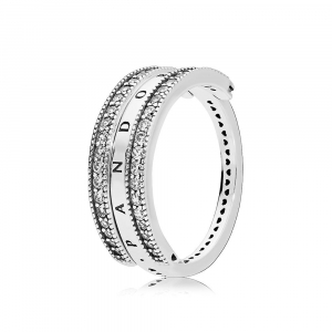 PANDORA logo reversible silver ring with clear cubic zirconia