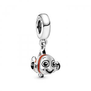 Disney Nemo sterling silver dangle with orange,  black and white enamel