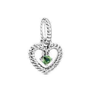 Heart sterling silver dangle with spring green crystal