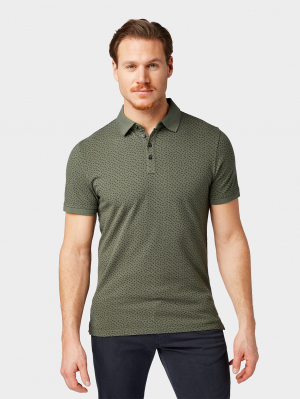 polo w tonal, green small leaf design, M