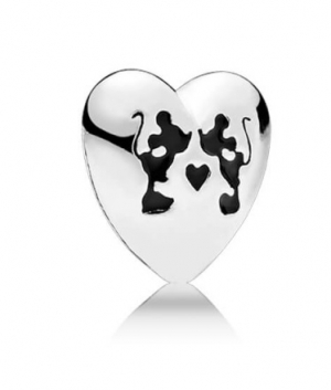Disney Minnie & Mickey heart silver petite element with black enamel