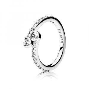 Hearts silver ring with clear cubic zirconia