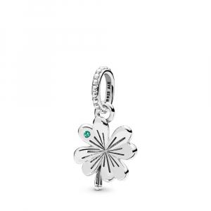 Clover silver pendant with aqua green crystal