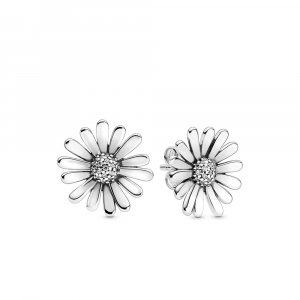 Daisy sterling silver stud earrings with clear cubic zirconia