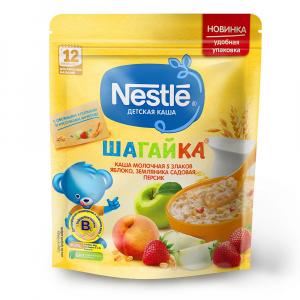 Каша Nestle молочная Шагайка из 5 злаков яблоко земляника и персик 200 гр