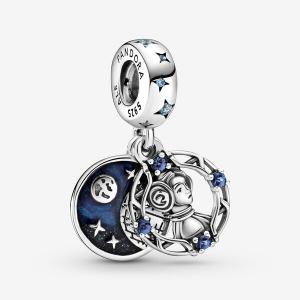 Star Wars Leia Organa sterling silver dangle with fancy light blue cubic zirconia, stellar blue crystal and blue enamel