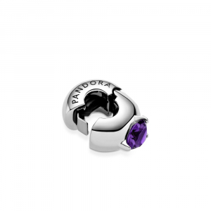 Sterling silver clip with royal purple crystal and silicone grip
