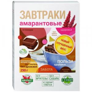 Завтраки амарантовые Di&Di с темным шоколадом 250г