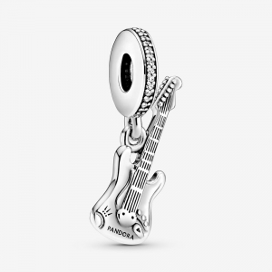 Guitar sterling silver dangle with clear cubic zirconia